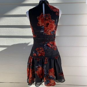 Gianni Bini Dresses - Gianni Bini Sheer & Velvet Floral Accent Dress